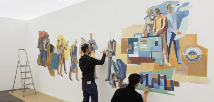 Șerban Savu, pictând în Galeria Plan B din Berlin