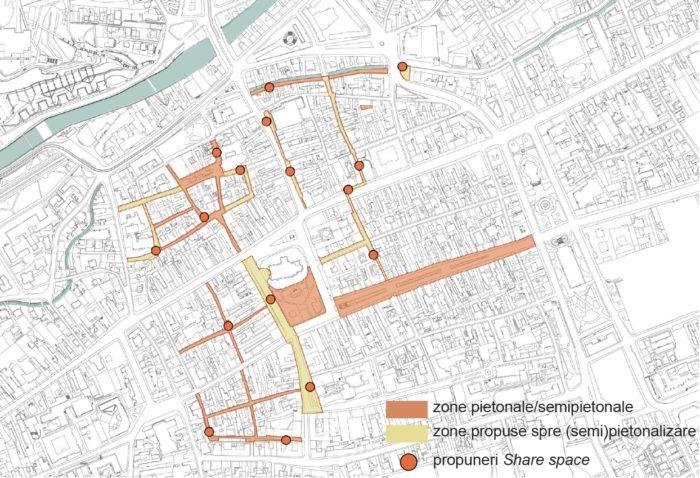 Străzi propuse pentru pietonalizare sau semi-pietonalizare (creare de spații partajate)