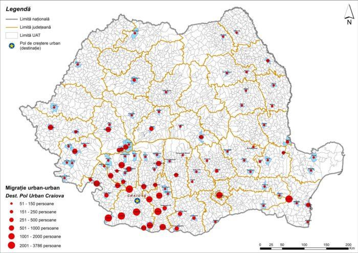 Migrația urban-urban către Craiova (2011)