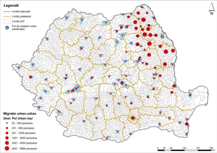 Migrația urban-urban către Iași (2011)