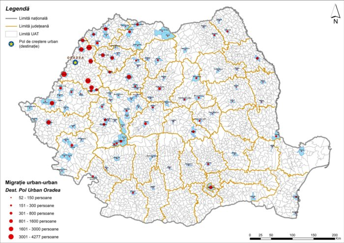 Migrația urban-urban către Oradea (2011)