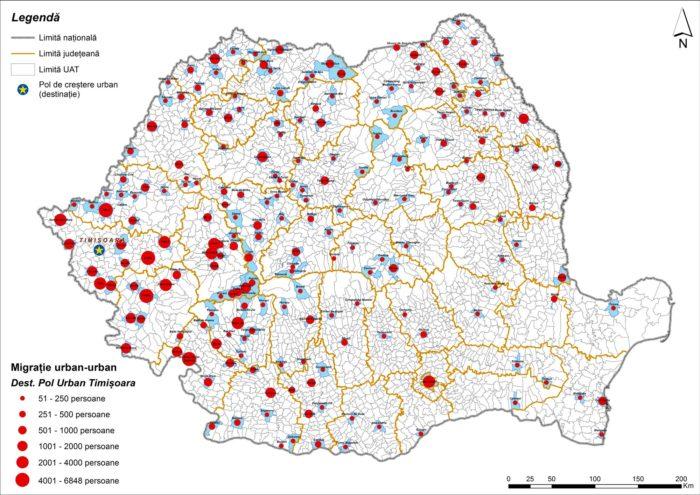 Migrația urban-urban către Timișoara (2011)