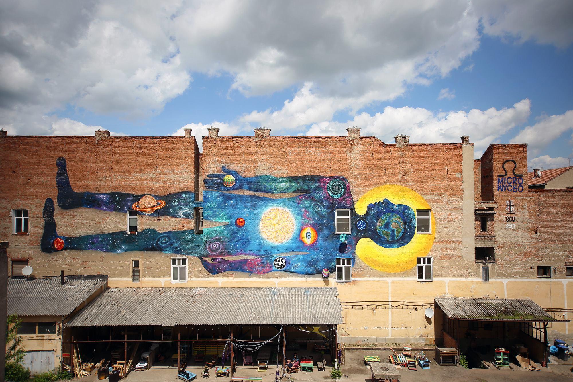 Mural realizat pe zidul curții interioare de la H33,fost depozit Prodvinalco.