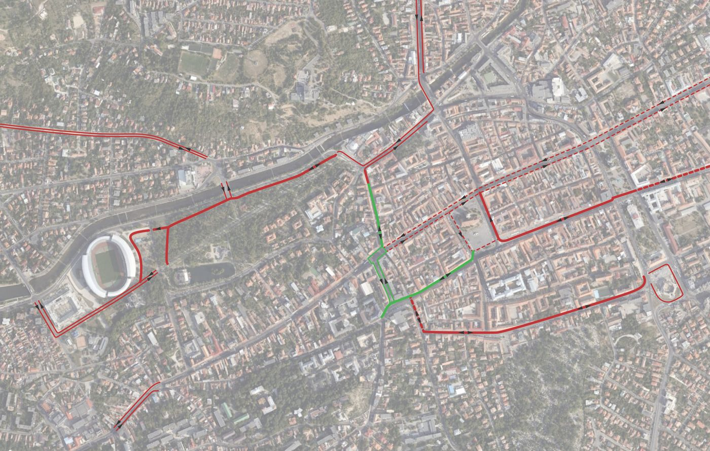 Pistele de biciclete noi create (verde) vor contribui la crearea unei rețele coerente în oraș, prin conectarea pistelor deja existente (roșu).Sursă: Planwerk.