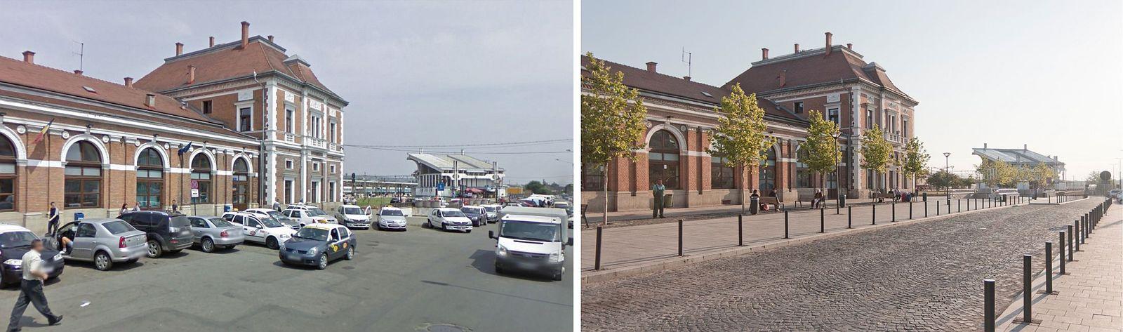 Piața Gării înainte și după pietonalizare.