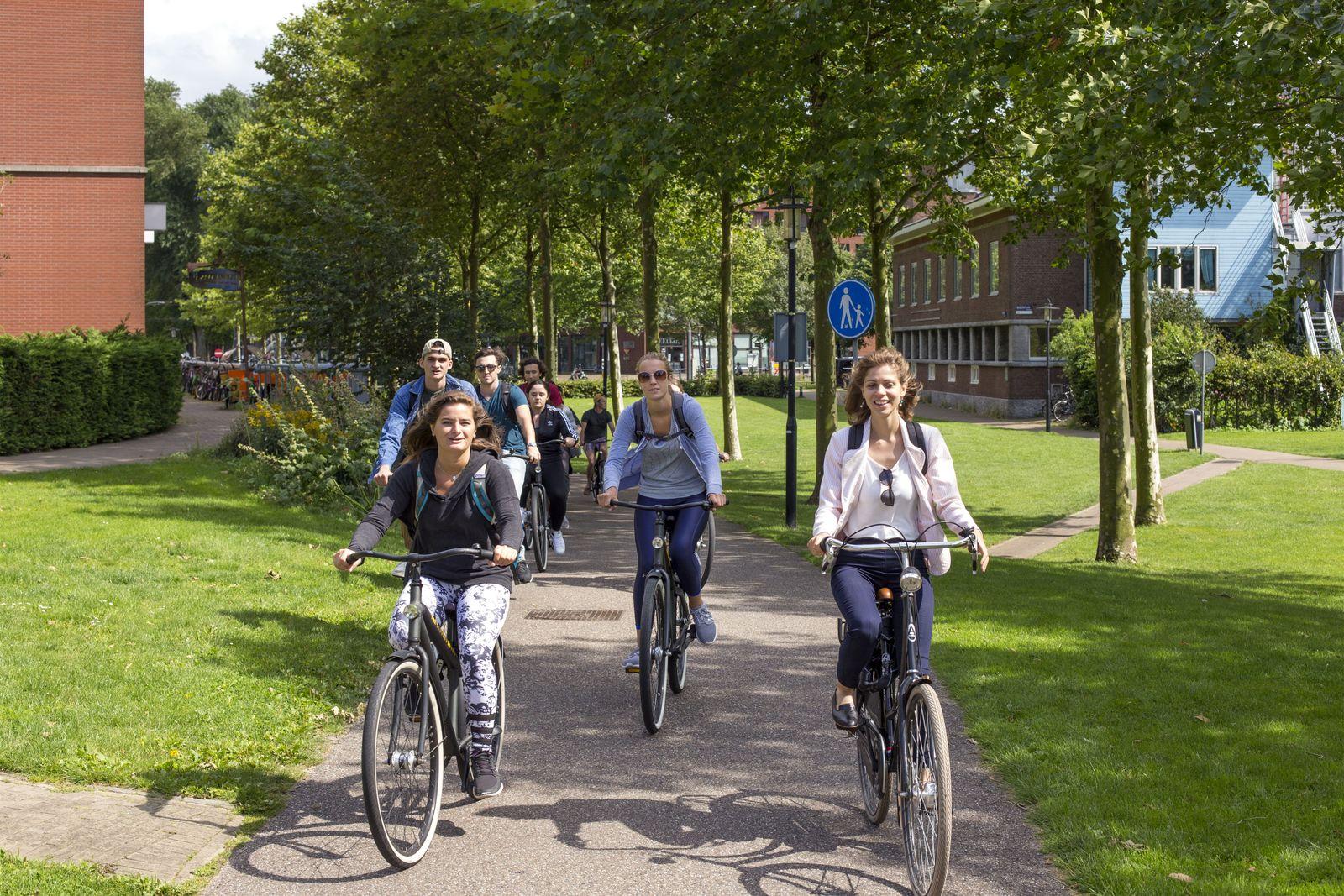 Tur al Amsterdamului pe bicicletă, ghidat de Cornelia Dincă (dreapta). Foto: Thomas Schlijper